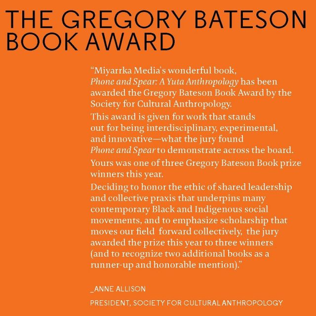 We are so excited to announce that our book 𝙋𝙝𝙤𝙣𝙚 & 𝙎𝙥𝙚𝙖𝙧 has been awarded the Gregory Bateson Book Award by the Society for Cultural Anthropology.   We are in wonderful company too. This year, in honour of the collective energy of Black & Indigenous social movements around the world, the jury awarded the prize to three authors: